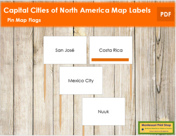 North America Capital Cities - Pin Map Flags (color-coded)