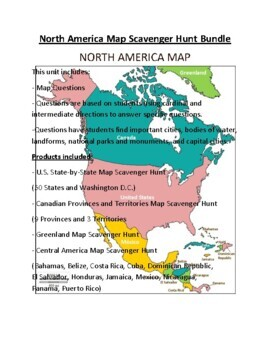 North America, Central America, and South America Map Scavenger Hunt