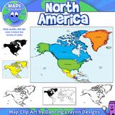 North America Continent Maps: Clip Art Map Set