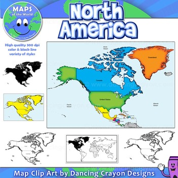 north america continent maps clip art map set by maps of the world