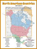 Countries of North America Geography Word Search