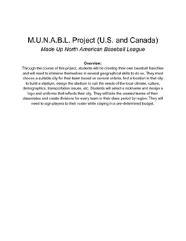 North America Geography Baseball Franchise Creation Project