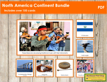 North America Geography Continent Bundle - (Color Borders)