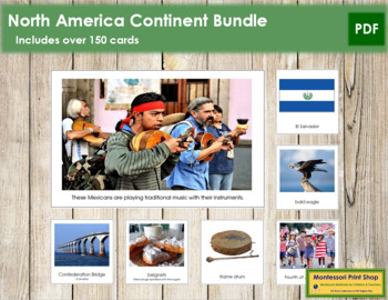 North America Geography Continent Bundle - Montessori Geog