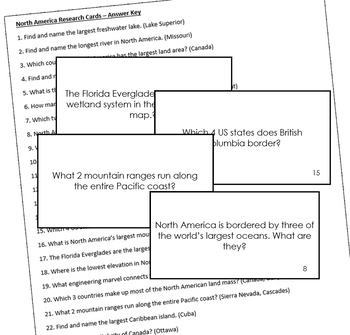 North America Geography Research Cards