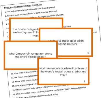 North America Geography Research Cards (color borders)