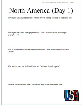 North America Guided Notes Packet