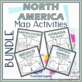 North America Map Activity BUNDLE || Geography