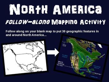 North America Map Activity: engaging, follow-along 27-slid
