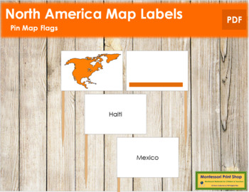 North America Map Labels - Pin Map Flags (color-coded)