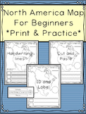 North America Map for Beginners: Print and Practice - 3 versions