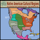Maps: North America Native American Cultural Regions {Messare Clips and Design}