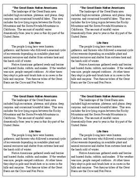 North America Native American Region Reading Passages