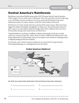 North America: Physical Features: Central America's Rainforests