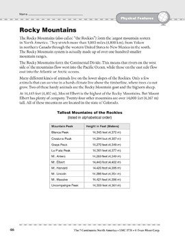 North America: Physical Features: Rocky Mountains