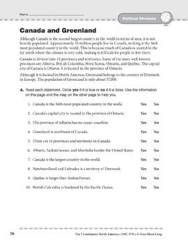 North America: Political Divisions: Canada and Greenland