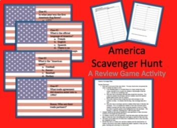 North America Scavenger Hunt Task Cards Bundle 3 Country Set -CCSS, Review, Fun!