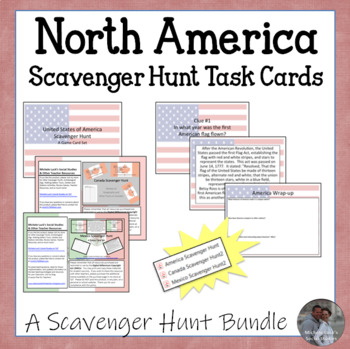 North America Scavenger Hunt Task Cards Bundle 3 Country S