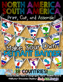 NORTH AMERICA SOUTH AMERICA CLASSROOM DECOR MAKE YOUR OWN PENNANT BANNER
