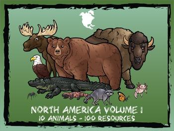 North America Volume 1 -- 10 Wild Animals -- 100 K-2 Resources