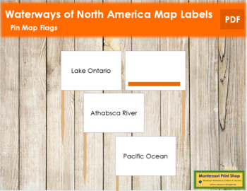 North America Waterways Map Labels - Pin Map Flags (color-coded)
