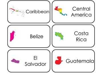 North America printable Picture Word Flash Cards. Preschool geography flashcards