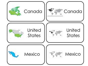 North America printable Picture Word Flash Cards. Preschoo