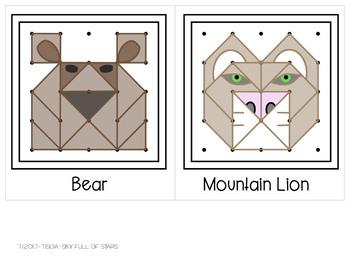 North American Animals Geoboard Task Cards