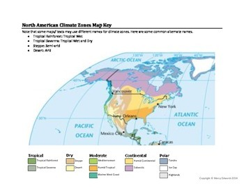 North American Climate Zones Map Worksheet