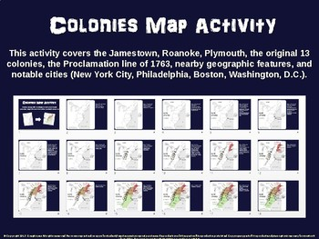 North American Colonies Map Activity: fun, engaging follow-along 18-slide PPT