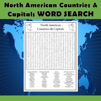 North American Countries & Capitals Word Search