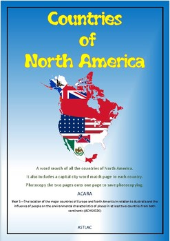 North American Countries Wordsearch and Quiz