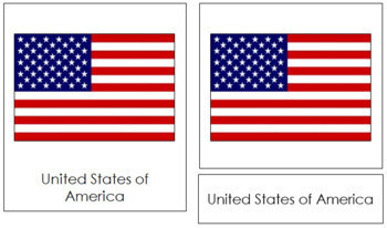 North American Flags: 3-Part Cards