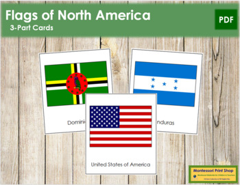 North American Flags 3 Part Cards Continent Cards By Montessori Print Shop