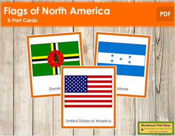 North American Flags: 3-Part Cards (color borders)