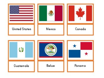 North American Flags Three Part Cards