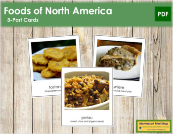 North American Food: 3-Part Cards