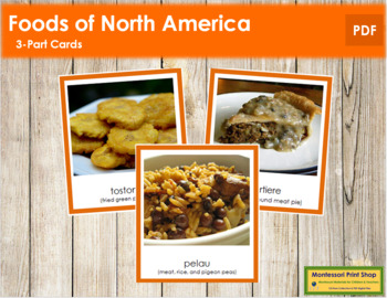 North American Food: 3-Part Cards (color borders)