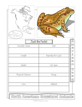 North American Grassland Animals Notebooking Pages