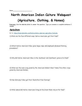 North American Indian Culture Webquest (Agriculture, Clothing, and Homes)