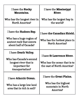 North American Land-forms: I Have Who Has