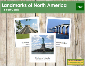 North American Landmarks: 3-Part Cards