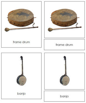 North American Musical Instruments: 3-Part Cards