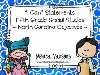 """North Carolina """"I Can"""" Social Studies Posters  {Fifth Grade}"""