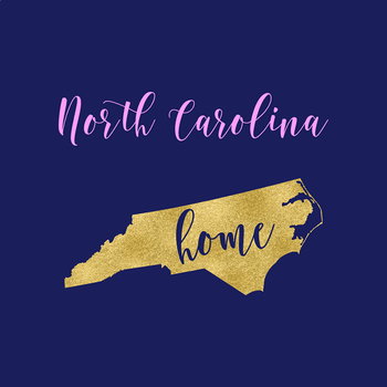 North Carolina Clipart, USA State Clipart, North Carolina Home, Gold US Clipart