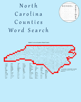North Carolina Counties Word Search