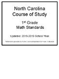 North Carolina Course of Study- 1st Grade MATH Standards Flipbook