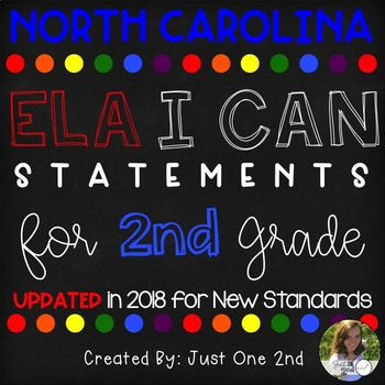 North Carolina ELA I Can Statements for 2nd Grade {{UPDATED FOR NEW STANDARDS}}