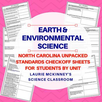 North Carolina Earth Science Standards Check Sheet Bundle Package