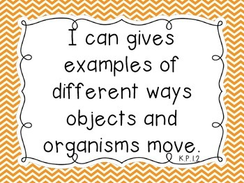 "North Carolina Essential Standards ""I Can"" Kindergarten Science Chevron Theme"